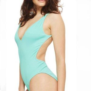 Topshop- Ribbed One-piece Teal Swimsuit